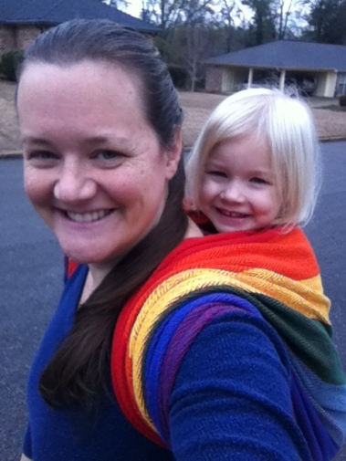 Wearing my youngest in one of my handwoven wraps.